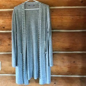 Long Gray Cardigan With Pearl Accents